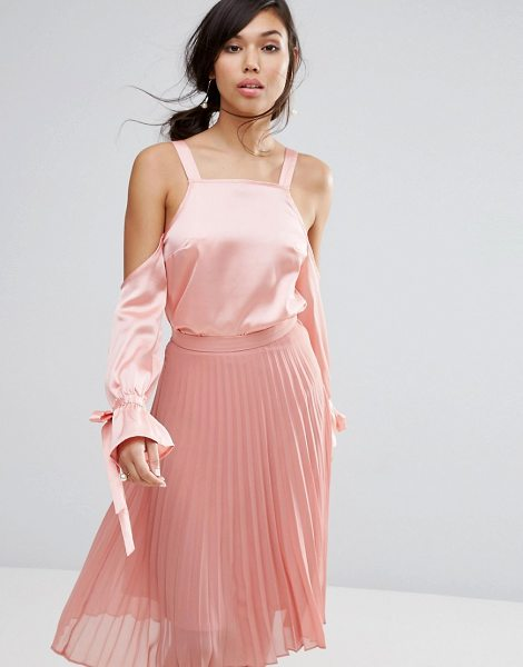 "Fashion Union Cold Shoulder Top In Satin in pink - """"Top by Fashion Union, Soft-touch satin, Square neck,..."