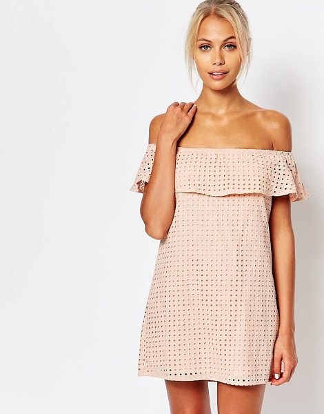 Fashion Union Crop layer off shoulder dress in pink - Dress by Fashion Union, Lined broderie anglaise, Bardot...