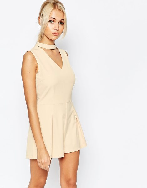 Fashion Union Cut Out Romper in pink - Romper by Fashion Union, Lightweight woven fabric, Added...