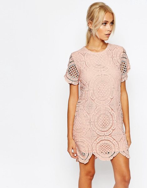 Fashion Union Dress in Crochet in pink - Dress by Fashion Union, Crochet lace, Lined design,...