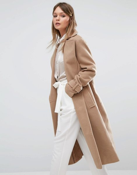 FASHION UNION Full Length Smart Over Coat - Coat by Fashion Union, Textured woven fabric, Wide...