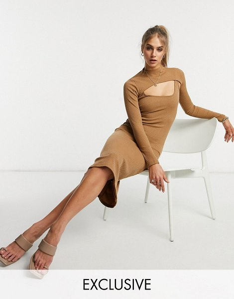 Fashion Union high neck cut out midi body-conscious dress in rib-brown in brown
