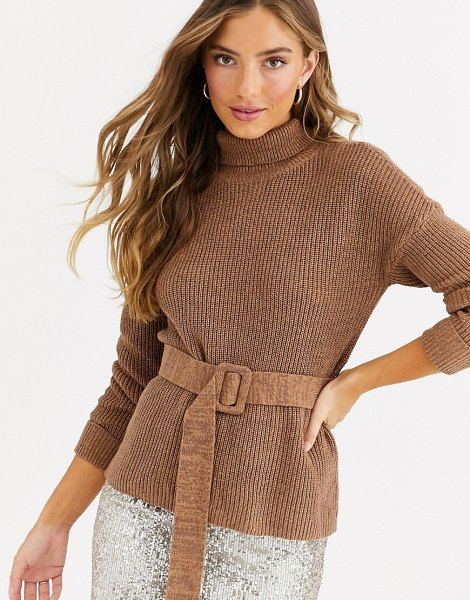 Fashion Union high neck fitted sweater with waist belt-brown in brown