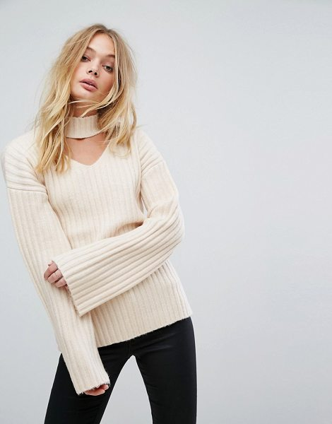 "FASHION UNION Knitted Sweater With Choker Cut Out - """"Sweater by Fashion Union, Ribbed knit, Choker-style..."
