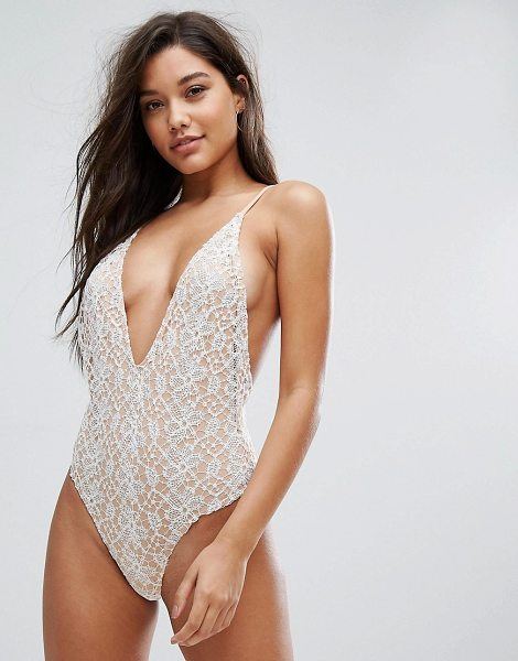 "Fashion Union Lace Swimsuit in beige - """"Swimsuit by Fashion Union, Stretch swim fabric, Fully..."