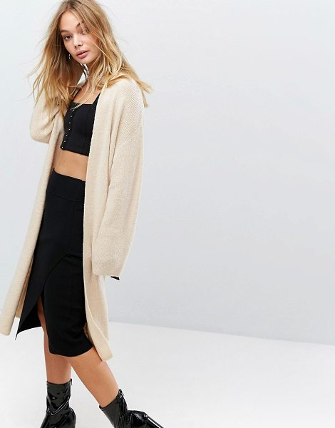 """FASHION UNION Longline Knitted Cardigan With Buckle Detail - """"""""Cardigan by Fashion Union, Soft-touch ribbed knit,..."""
