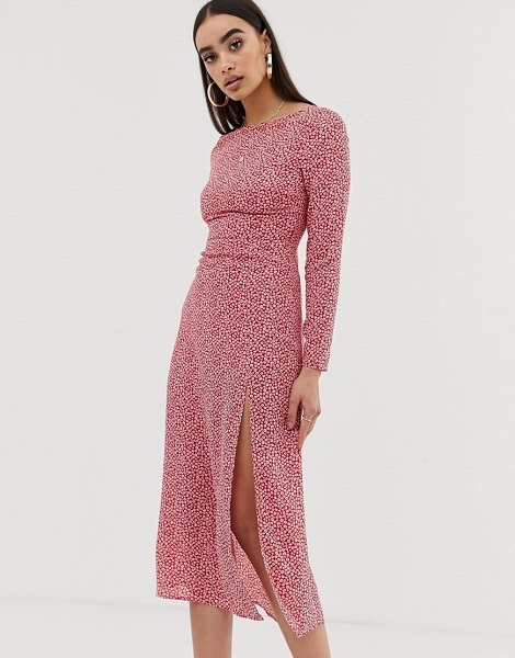 Fashion Union low back midi dress in spot-pink in pink