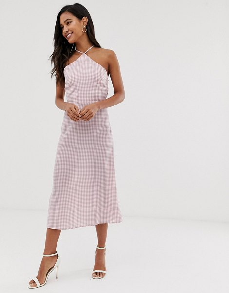Fashion Union midi dress with high halter neck in gingham in pinkgingham