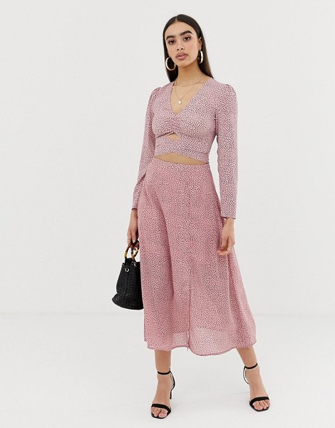 Fashion Union midi skirt in spot in pinkspot