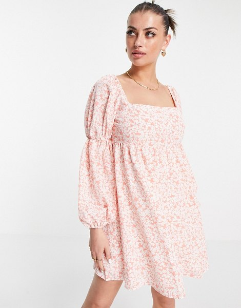 Fashion Union mini volume smock dress with puff sleeves in pink floral in pink