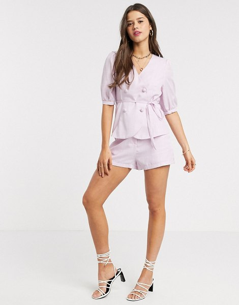 Fashion Union mom shorts in check two-piece-pink in pink