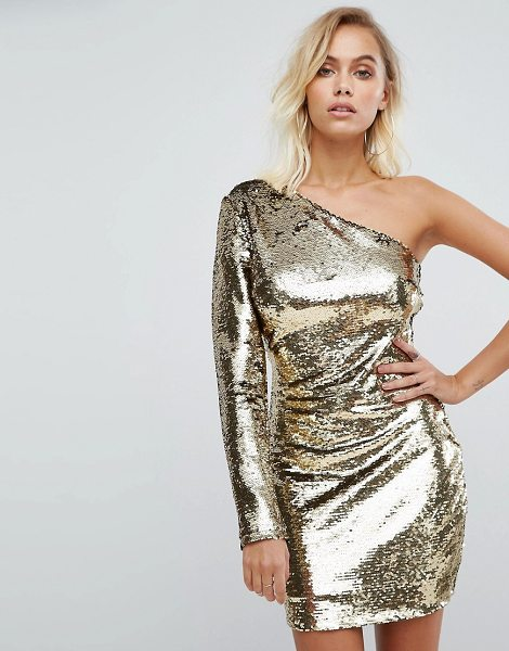 Fashion Union one shoulder dress in goldsequin
