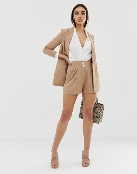 Fashion Union pleated high waist shorts two-piece in camel