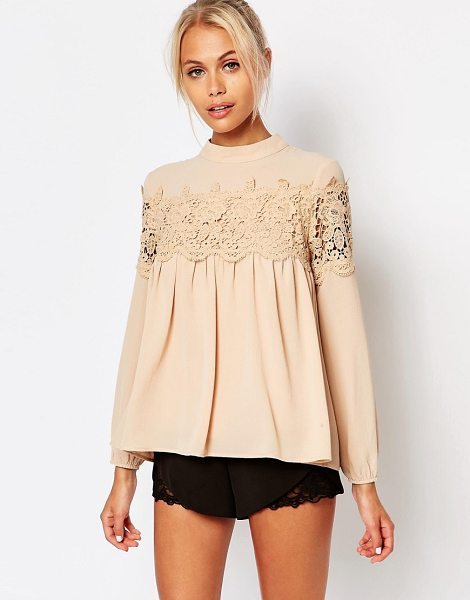 Fashion Union Pretty Lace Blouse in beige - Blouse by Fashion Union, Textured woven fabric, Lined...