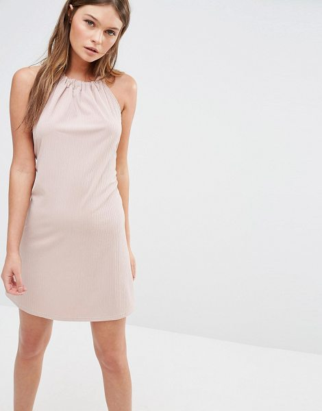 Fashion Union Rib Halter Neck Dress With Tie Up Back in pink - Dress by Fashion Union, Ribbed stretch fabric, Halter...