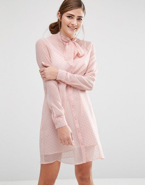 Fashion Union Shirt Dress With Sheer Layer And Bow Collar in pink - Dress by Fashion Union, Sheer printed chiffon,...