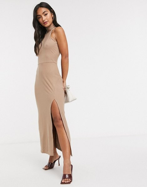 Fashion Union sleeveless midi dress with roll neck and split-brown in brown