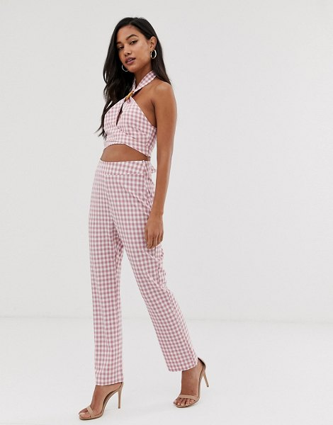 Fashion Union slim pants in gingham two-piece in pinkgingham