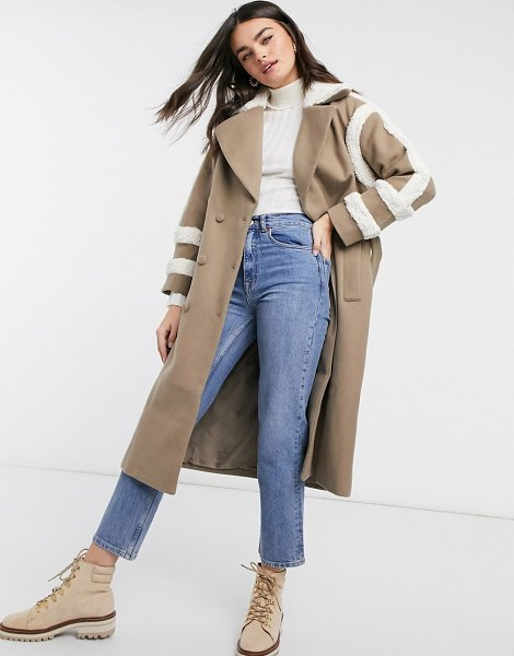 Fashion Union trench coat with shearling details-brown in brown