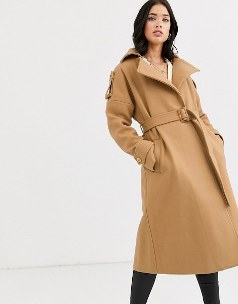 Fashion Union belted wrap coat in camel
