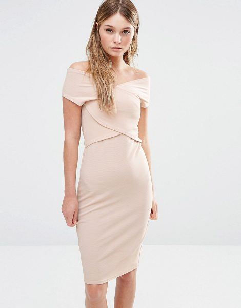 "Fashion Union Wrap Front Bodycon Dress in beige - """"Bodycon dress by Fashion Union, Woven fabric, Bardot..."