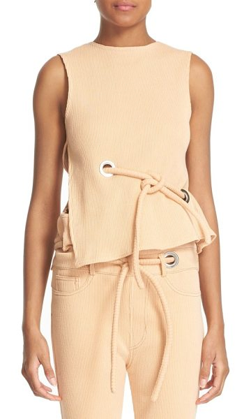 faustine steinmetz sleeveless ribbed stretch cotton top in salmon - A tubular tie belt and shining square grommets detail a...