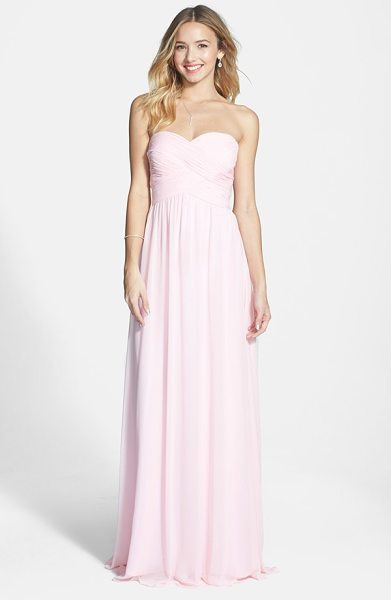 Faviana colorblock chiffon gown in ice pink - Flattering shirring gives comfortable structure to the...