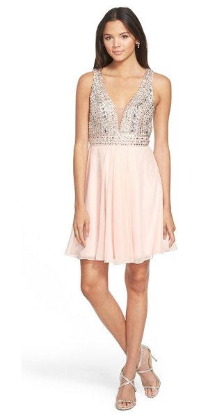 Faviana embellished chiffon fit & flare dress in soft peach - Instantly get the party started in this dreamy decollete...