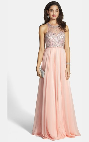 Faviana embellished chiffon gown in soft peach - A dusting of beads and sequins adds luxe sparkle to the...