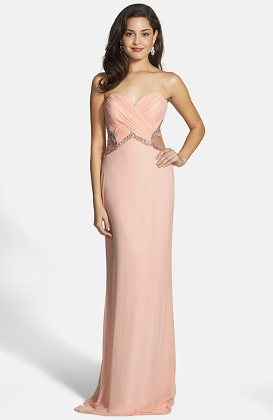Faviana embellished mesh gown in soft peach - Soft shirring structures the sweetheart bodice of this...