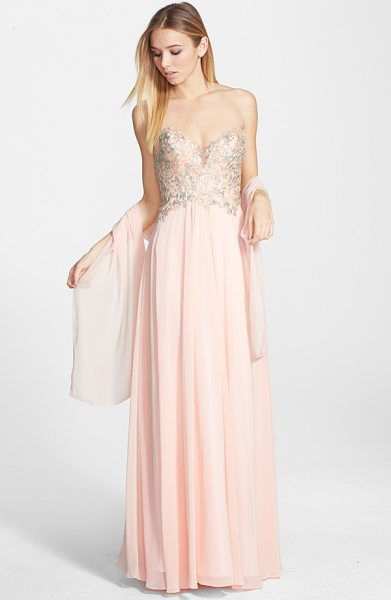 Faviana embroidered chiffon gown in soft peach