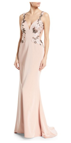 FAVIANA Faille Satin V-Neck Lace Applliqué Dress - Faviana evening gown in stretch faille with...