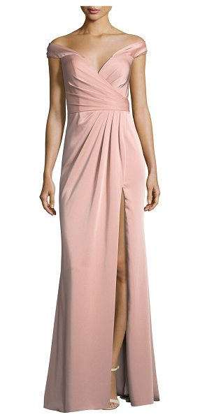 Faviana Off-the-Shoulder Column Faille Satin Evening Gown in pink - Faviana evening gown in faille satin with gathered...