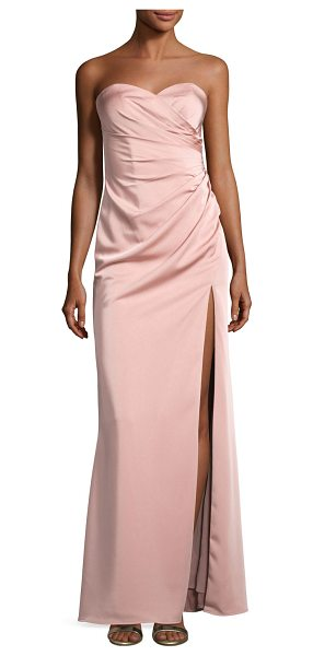 Faviana Strapless Stretch-Satin Sweetheart Column Gown in pink - Faviana evening gown in stretch satin. Strapless...