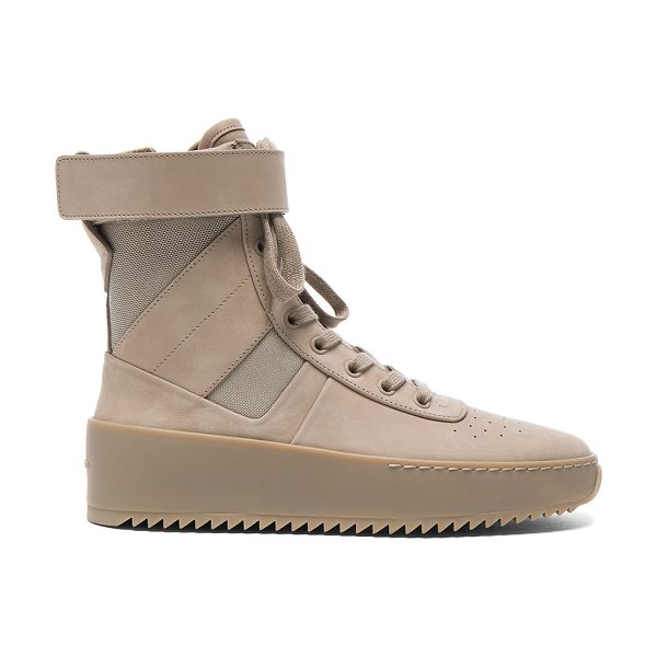 FEAR OF GOD Nubuck Leather Military Sneakers in desert beige - Nubuck leather upper with rubber sole. Made in Italy....