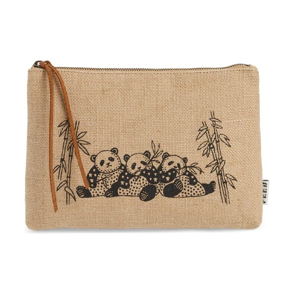 FEED animal zip top burlap pouch in beige - Featuring playful animal graphics front and center, this...