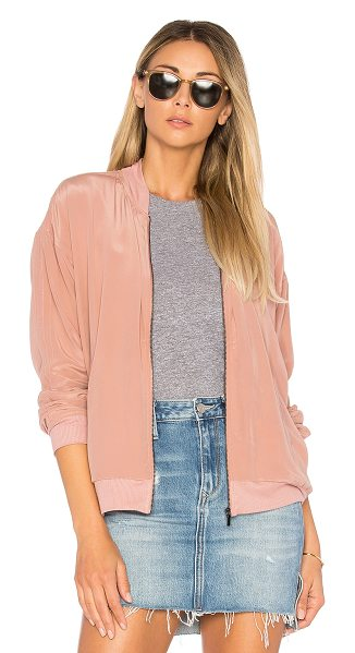 Feel the Piece Baxter Bomber in rose clay - Self: 100% silkLining: 95% rayon 5% spandex. Dry clean...