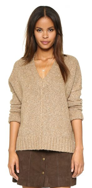 Feel the Piece Baylor sweater in caramel - A V neck Feel The Piece sweater in a soft knit. Side...