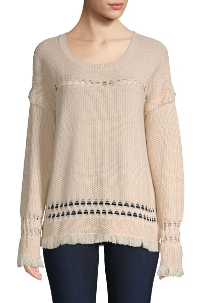 Feel the Piece colin diamond weave fringed sweater in natural - From the Saks IT LIST. PUTTING ON THE KNITS. That...