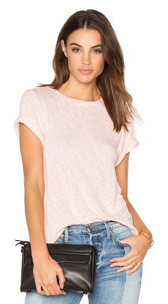 Feel the Piece Lark Tee in pink - 62% rayon 38% poly. Hand wash cold. Slub knit fabric....