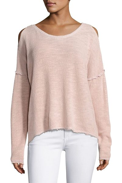 Feel the Piece lupe cold shoulder top in pink rain velvet - Oversized knit-top with cold shoulders in solid hue....