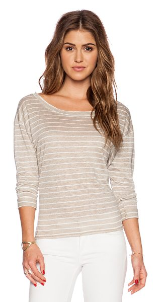 Feel the Piece Moreau top in taupe - Linen blend. Cuffed sleeves. Side seam slits....