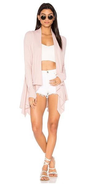 Feel the Piece Witton Drape Cardigan in pink - 97% modal 3% spandex. Draped open front. Thumbhole...