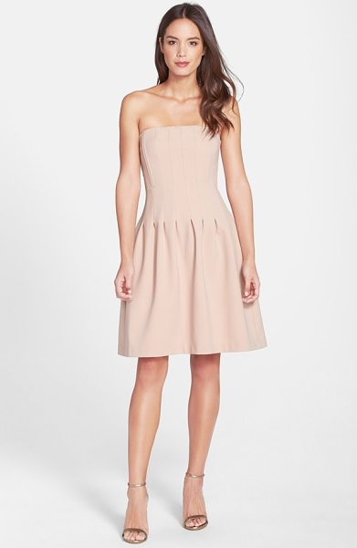 Felicity & Coco jaelynn seamed strapless fit & flare dress in pink - A chic strapless party dress is sculpted by subtle seams...
