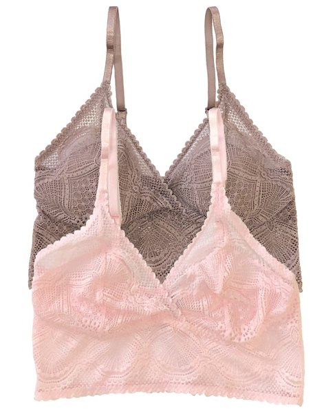 Felina 2-pack lace bralettes in pink