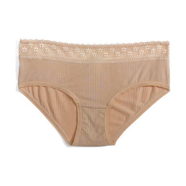 Felina 'aubrie' boy leg briefs in fawn - A lacy, crochet-inspired waistband tops whisper-soft...