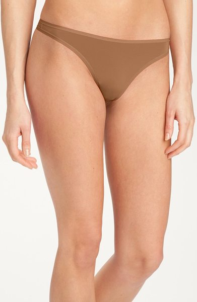 Felina 'sublime' thong in fawn - Classic low-rise thong is made of soft, stretchy fabric...
