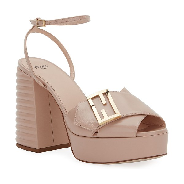 Fendi 110mm Platform Sandals with FF Buckle in beige