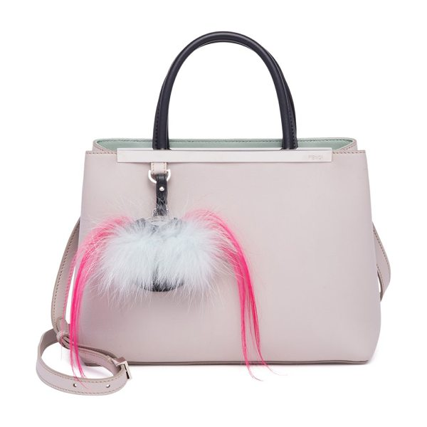Fendi 2jours fur-detail leather shopper in grey powder - Plush fur bag bug playfully details leather shopper....
