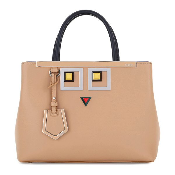 Fendi 2Jours Petite Faces Leather Tote Bag in tan - Fendi smooth calfskin satchel bag with silvertone...